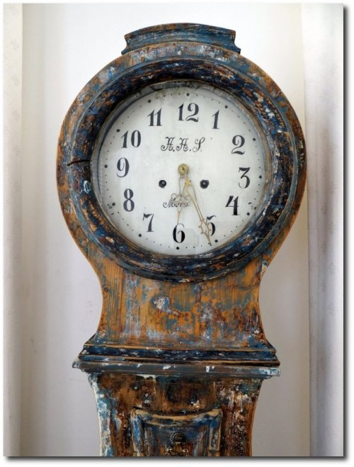 Swedish Longcase Mora clock c.1860 scraped back to original paint.