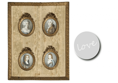 Swedish 18th Century Style- Miniature portraits of Louis XVI, Marie Antoinette, Louis XVII and Marie-Therese, Madame Royal, late 19th or early 20th C