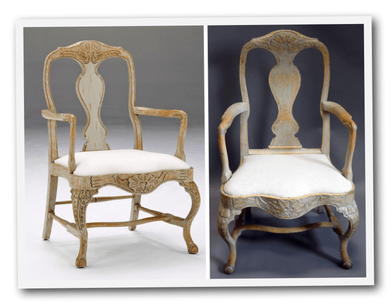 I Purchased This Antique Rococo Chair On Right And Our Copy Is On The Left.