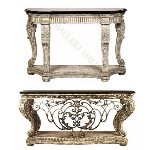 Mive Ornate Cast Stone Console Forged Iron Burnished From The European House