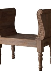 Lazy Susan Carved Wood Bench