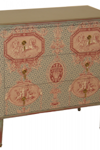 A 3 drawer chest painted gray cloth cover Braquenié with drawers wrapped in red velvet