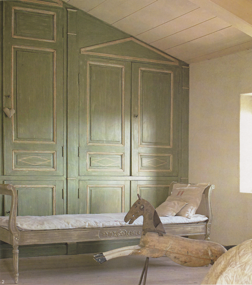 Swedish Primitive Interior And Decorating Ideas Green Painted Wood Panel Wall