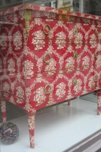 Neoclassical Wallpapered Neoclassical Chest With Brass hardware From Ruth Burts