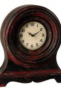 Wilco Imports  Wooden Table Clock, Red and Black