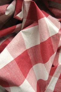 Antique French Check Fabric Material Red Off-White Check