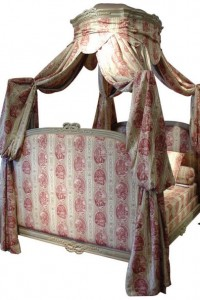 Antique Red Louis XVI Canopy Bed