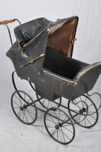 Antique Toy Black Leather Baby Pram Carriage Early 1900's From Bought It SOld It ebay