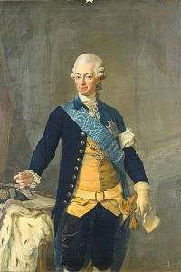Swedish Decorating Colors- Blue, Yellow, Navy And Gray- Painting of King Gustav III