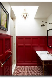 Outstanding Paneled Red Painted Bathroom