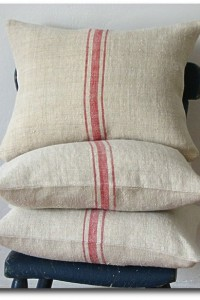 Vintage Grainsack Pillow Triple Red Stripe by jillbent on Etsy
