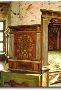 Gripsholm Castle belongs to the famous castles in Sweden. This view shows how kings slept in the chamber of Charles IX.