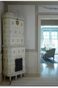 Beautiful tile stove used in the interior design of a Houston home. Interior design Katrin Cargill.