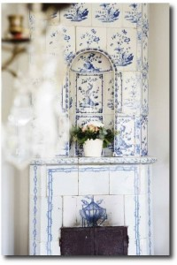 Blue and White Swedish Tiled Stove