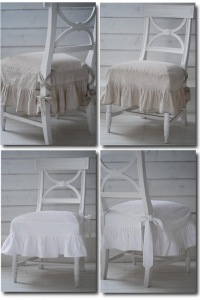 Swedish Chairs With Linen Slipcovers from Biskops Garden