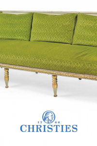A SWEDISH PARCEL-GILT AND GREY-PAINTED SOFA