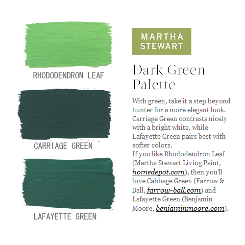Green Paint Colors Featured On Martha