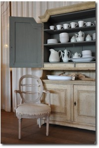 Paint the interior of your cabinets intead of the walls- Under The Spanish Moss Blog