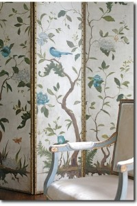 Aviary screen with Gustavian-style chair