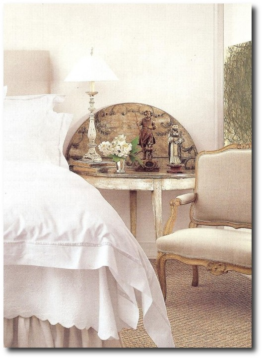 Bedroom with European Country Interior Design by Jane Moore.